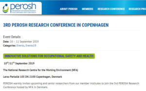 3rd PEROSH conference on occupational health and safety